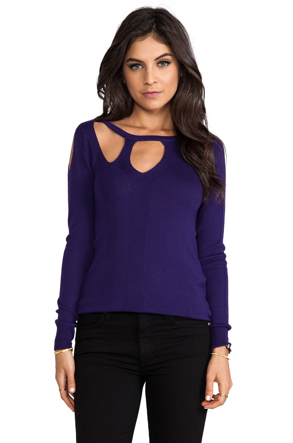Nanette Lepore Futuristic Knit Wrap Speed Sweater in Violet