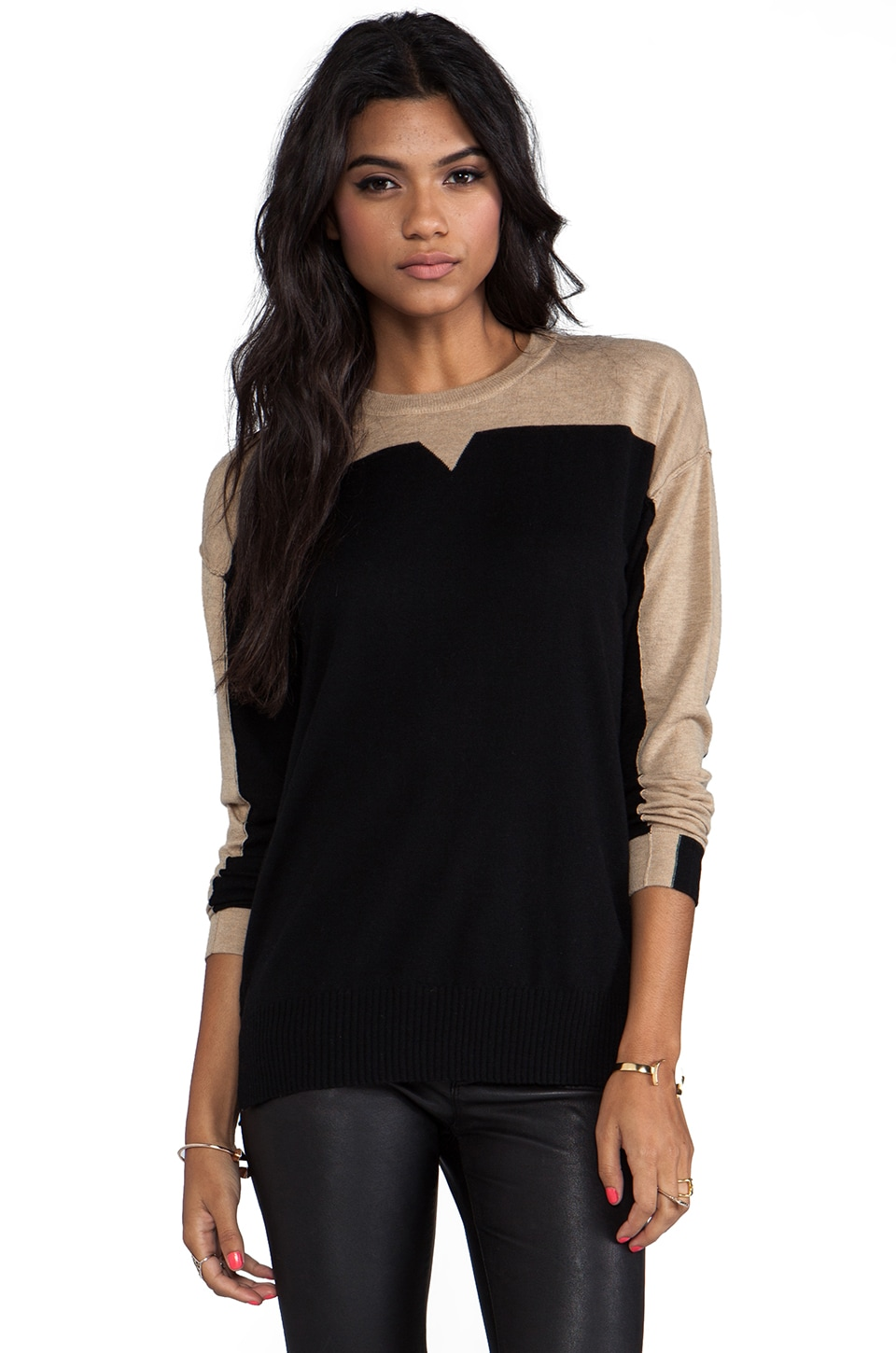 Nanette Lepore Elroy Sweater in Black/Camel