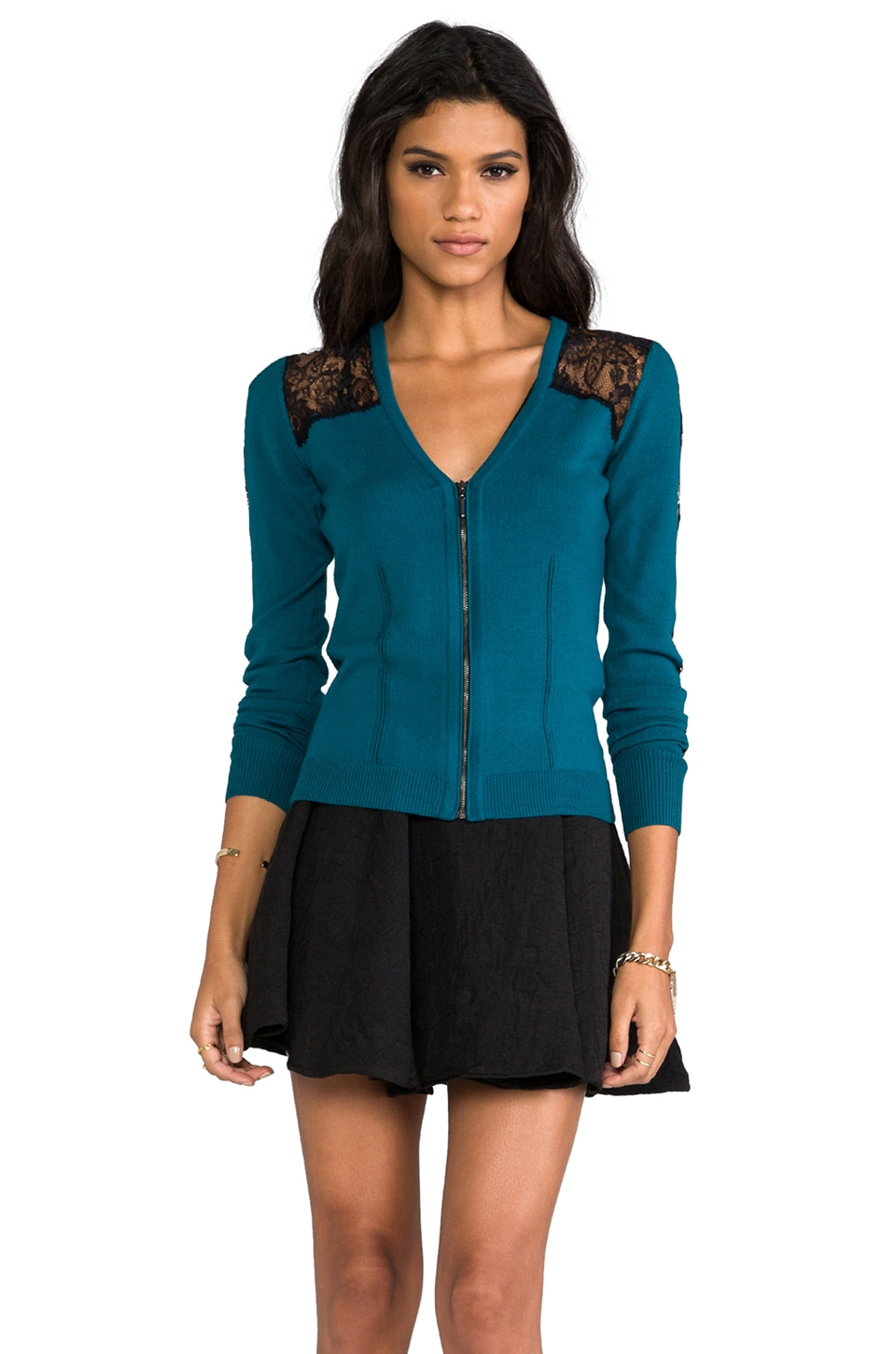 Nanette Lepore Conversations Knit Cardi in Turquoise
