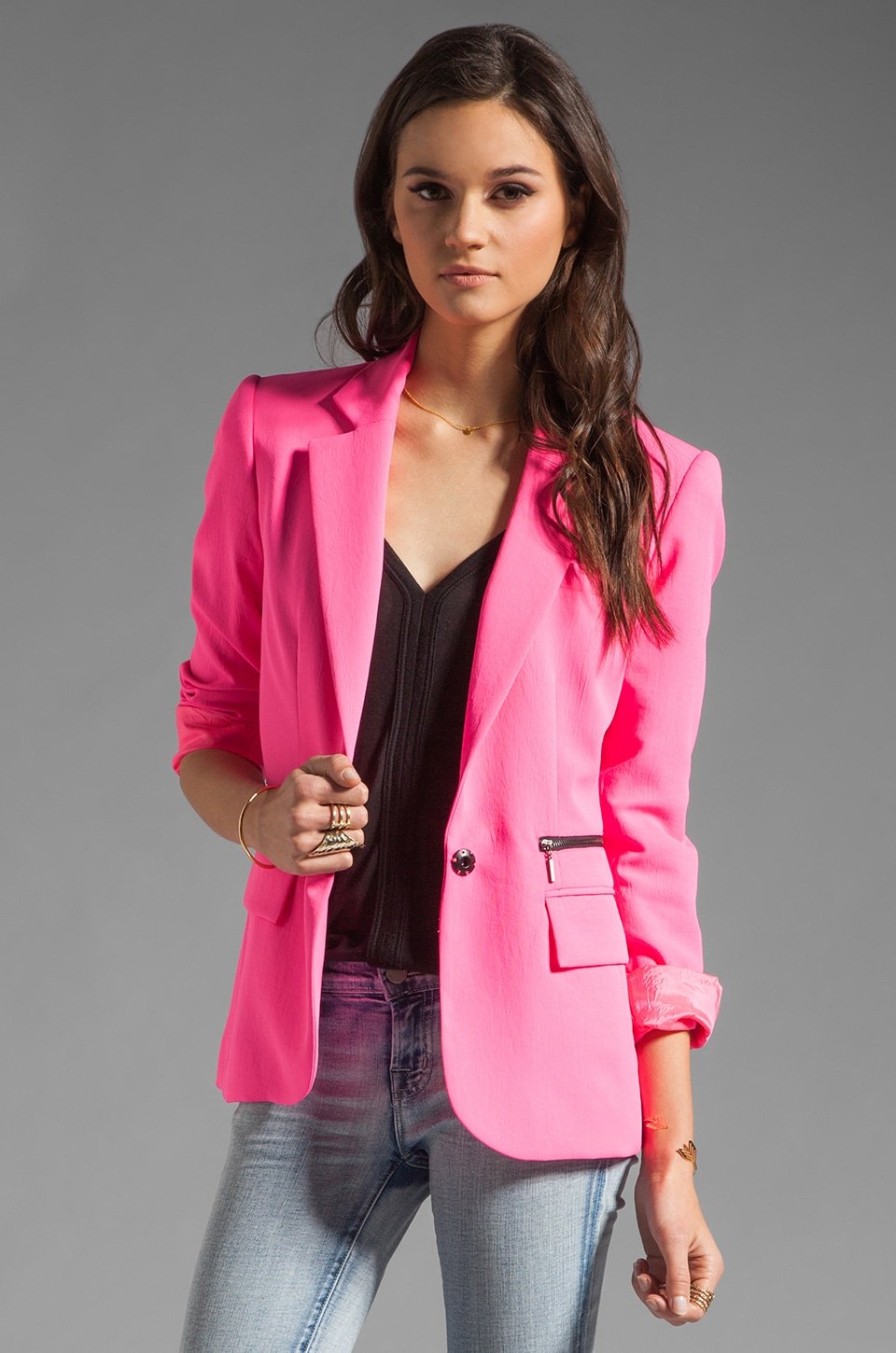 Nanette Lepore Superstar Crepe Blazer in Shocking Pink