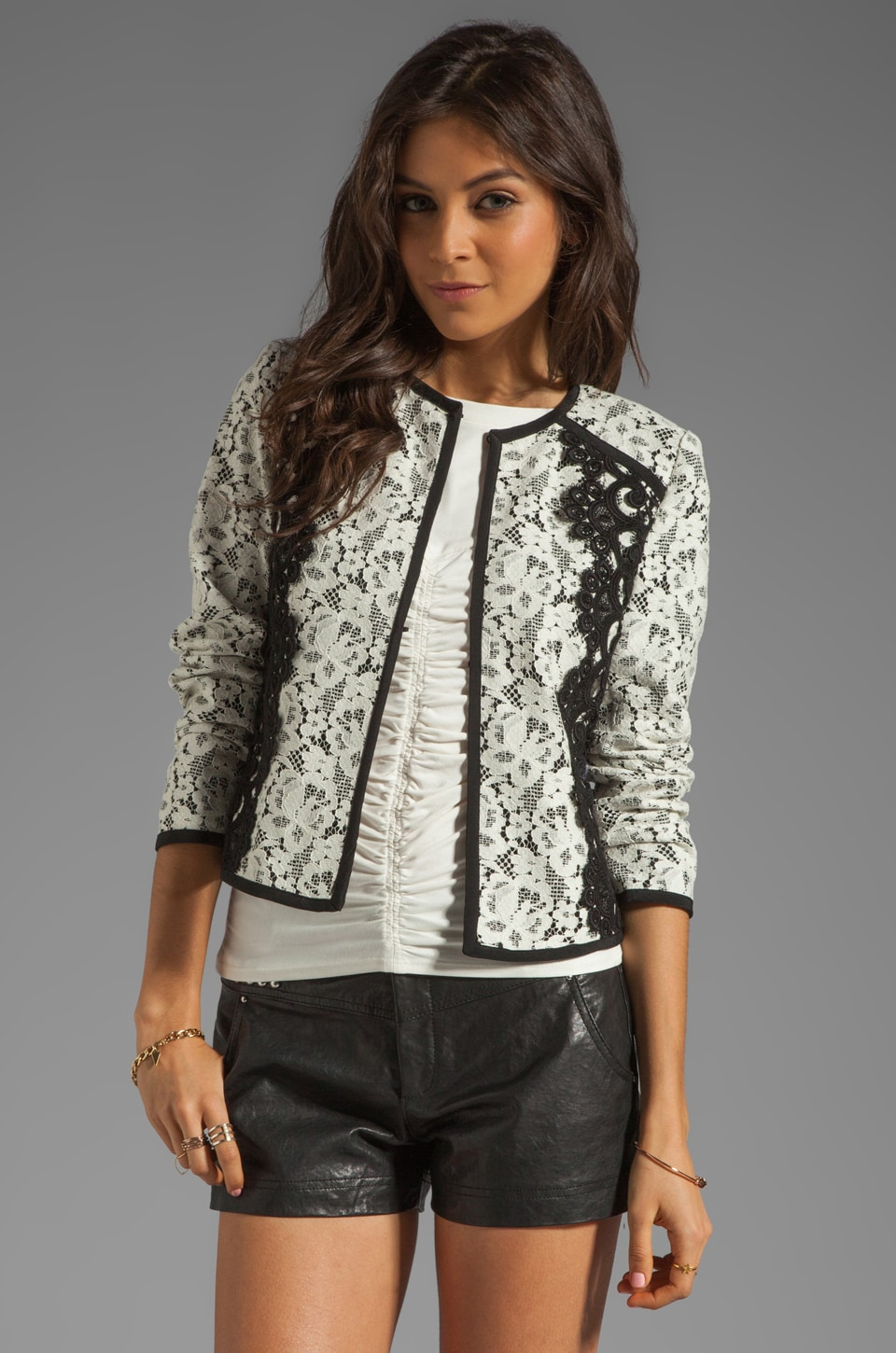 Nanette Lepore Spectacle Lace Jacket in Ivory and Black