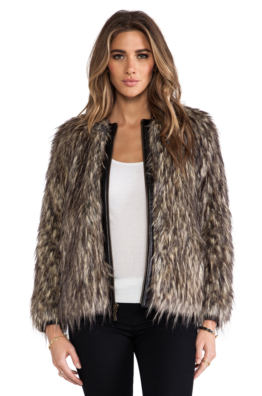 Nanette Lepore Moroccan Faux Fur in Camel/Black