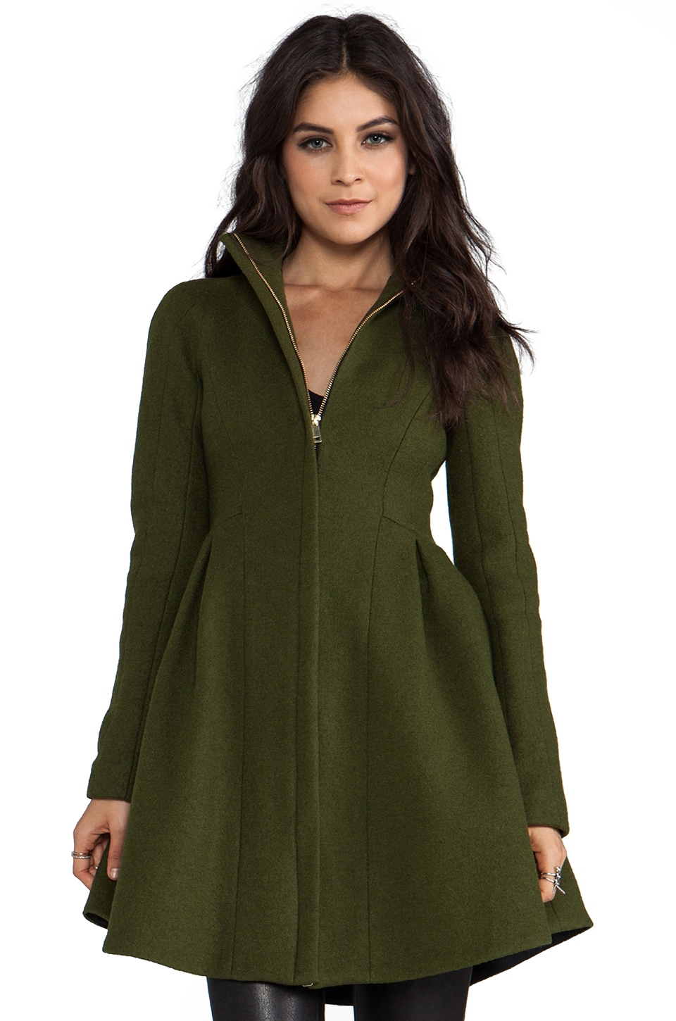 Nanette Lepore RUNWAY Astronomer Coats Skyscape Coat in Olive