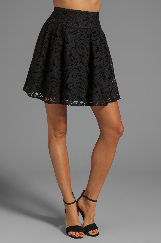 Nanette Lepore Mambo Lace Cha-Cha-Cha Skirt in Black