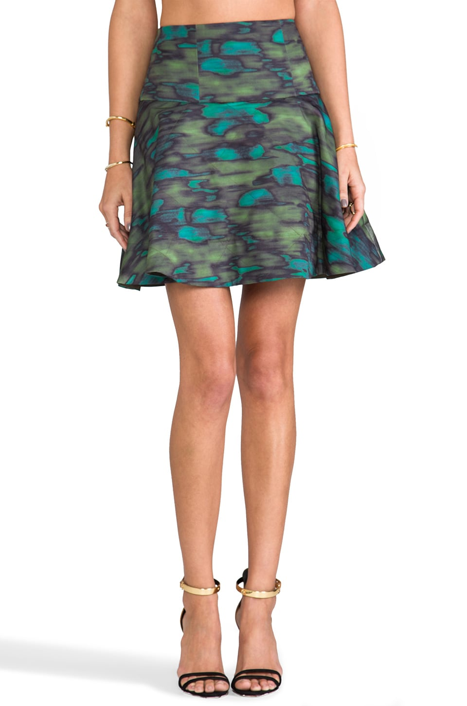 Nanette Lepore RUNWAY Outerspace Print Skirt in Olive