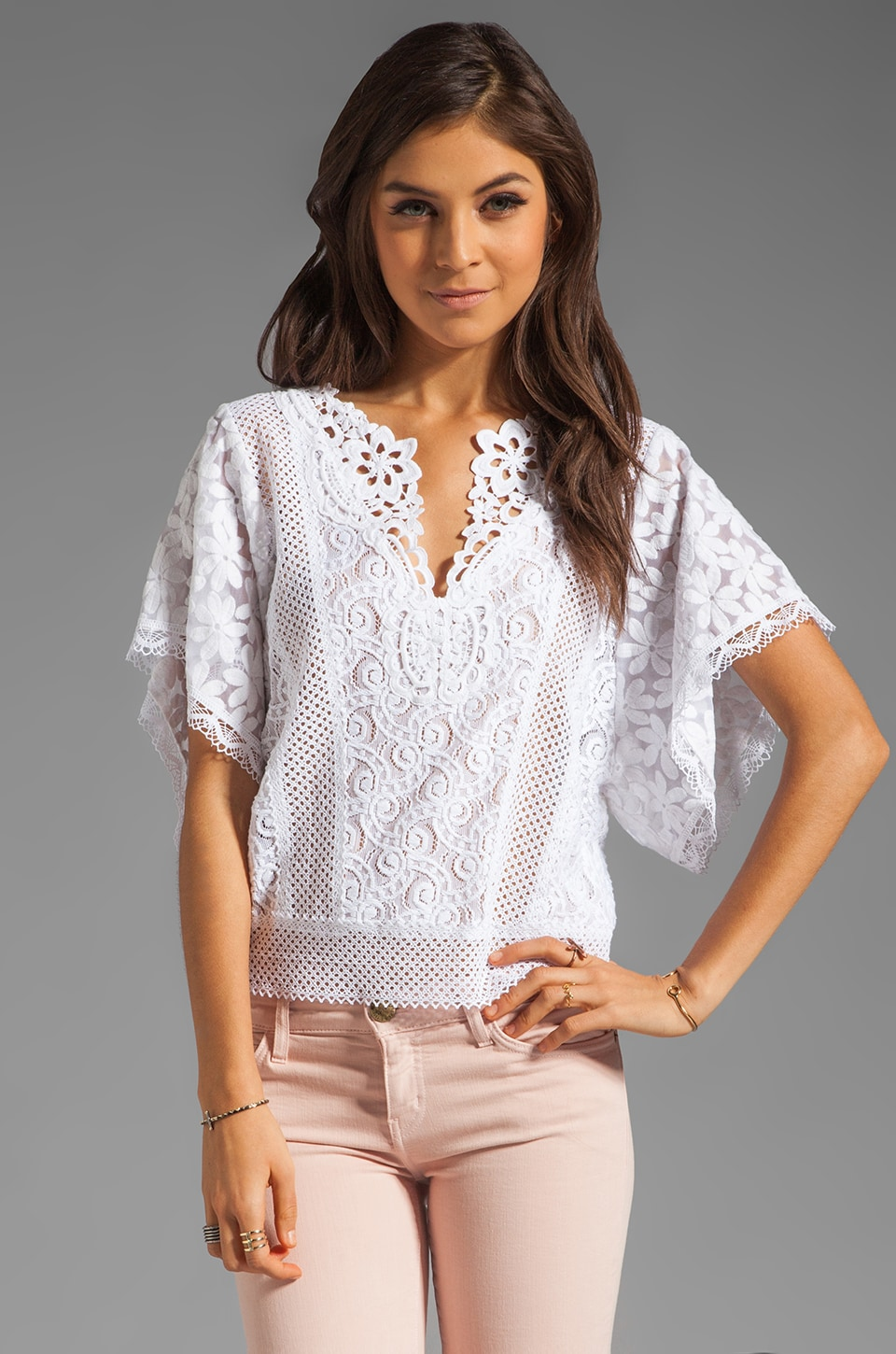 Nanette Lepore Beauty Lace Top in White