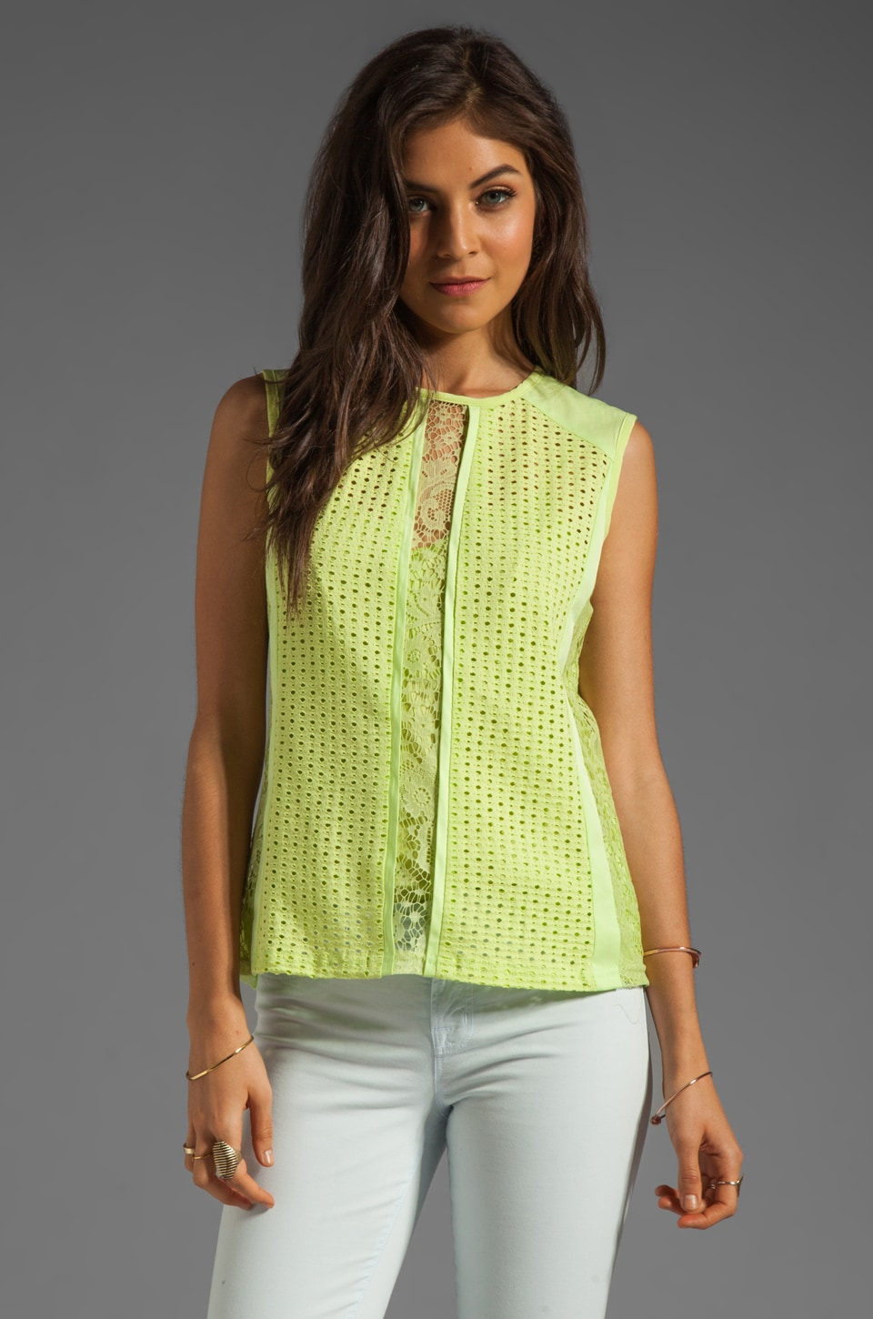 Nanette Lepore Original Mix Top in Lime
