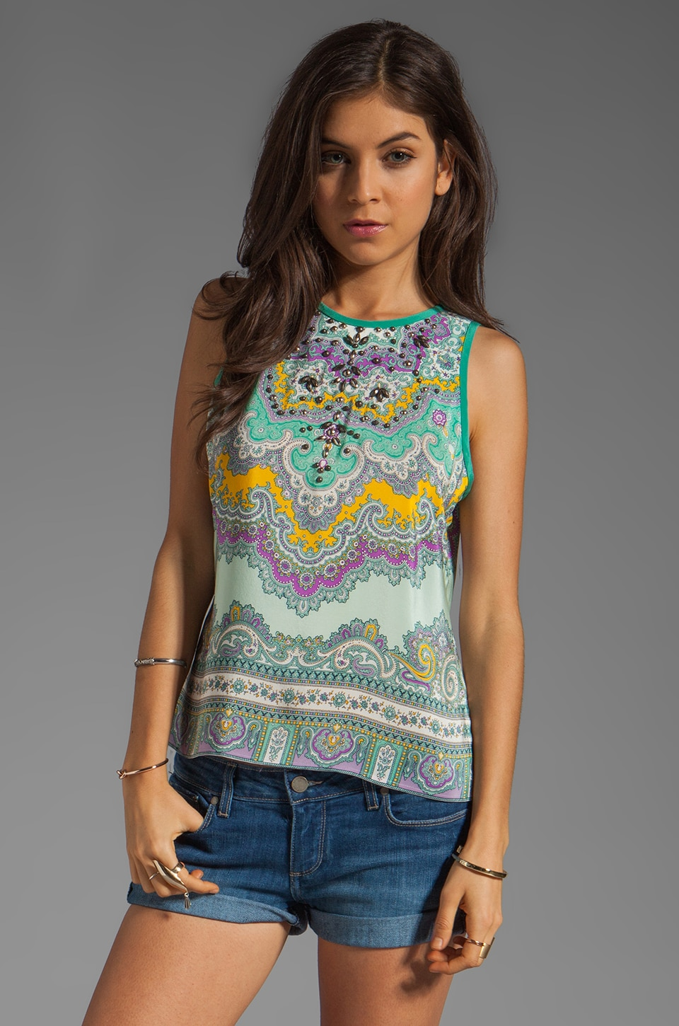 Nanette Lepore Gemstone Top in Mint Multi