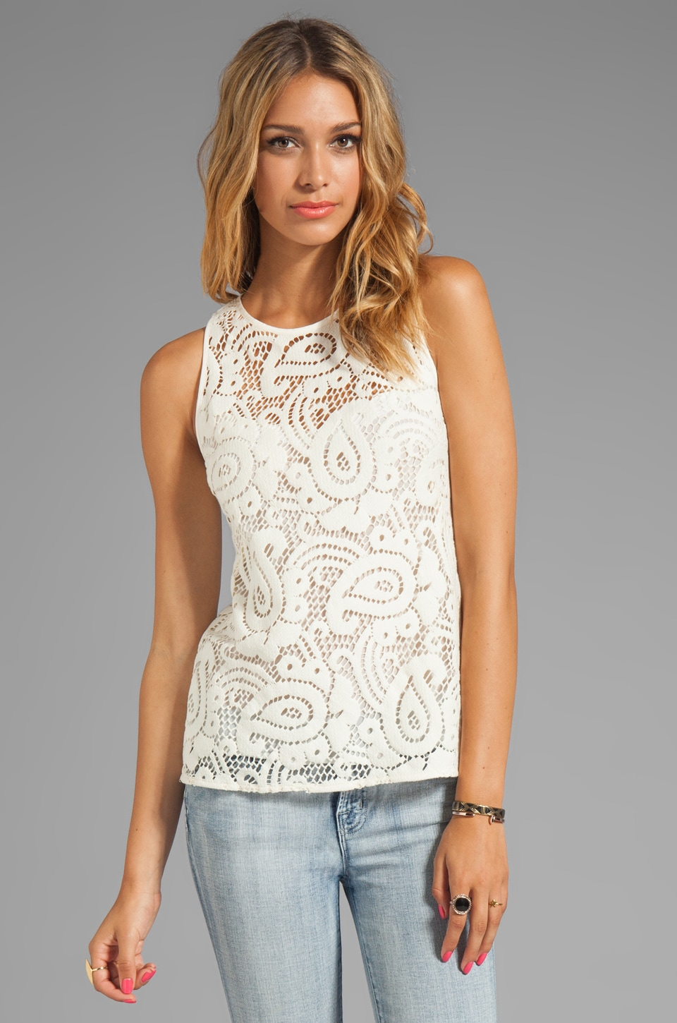 Nanette Lepore Mambo Lace Inca Tank in Ivory