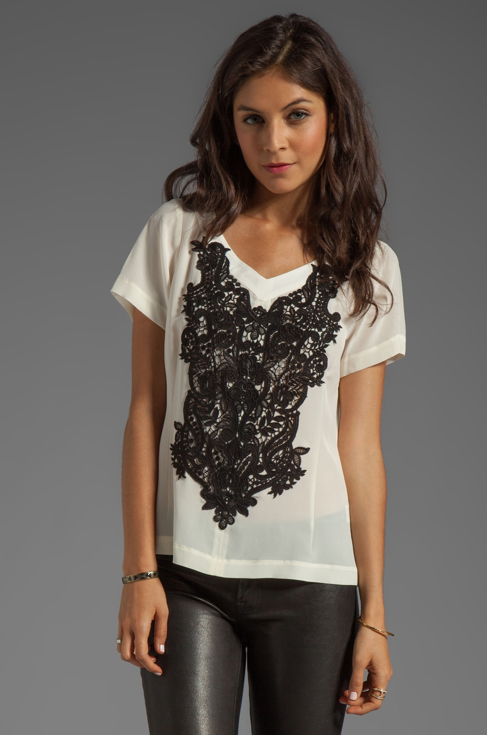 Nanette Lepore Kissing Booth Lace Snowcone Top in Ivory
