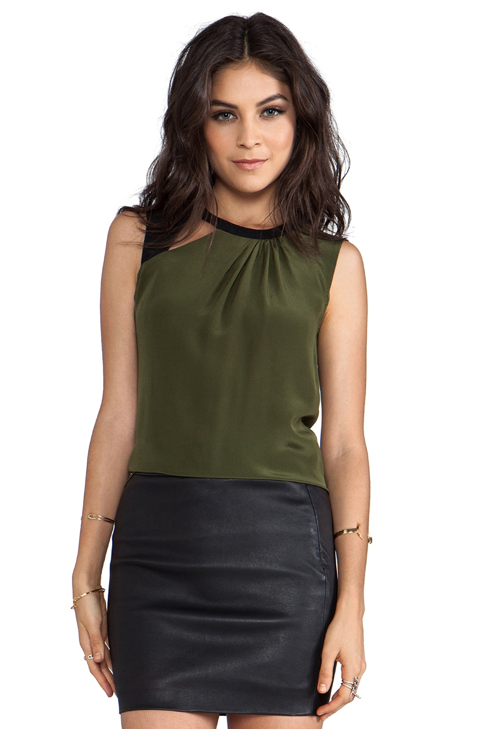 Nanette Lepore Neptune Silk Mercury Top in Olive