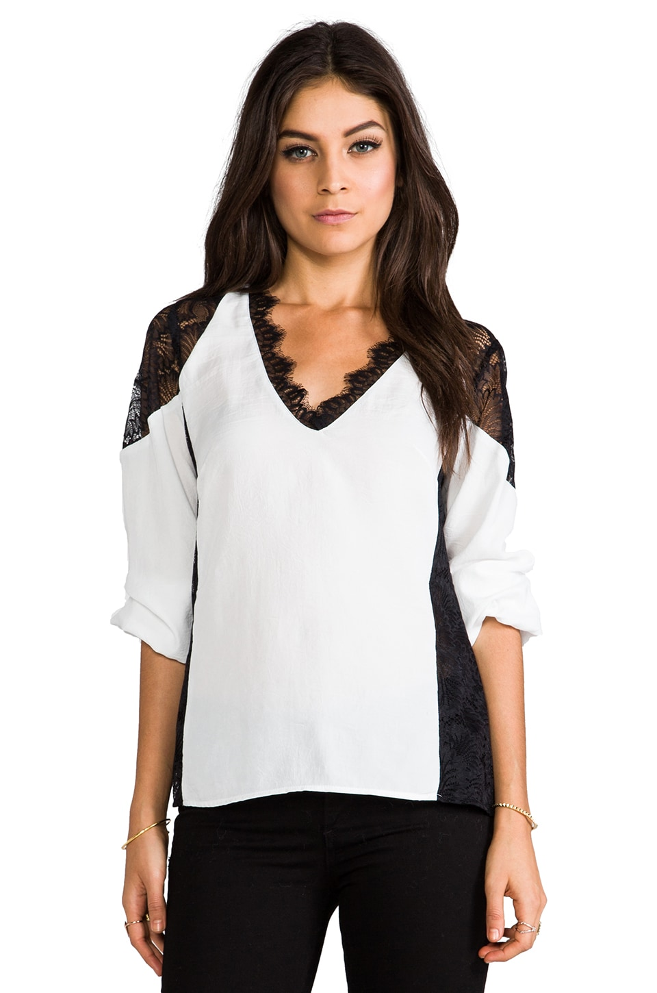 Nanette Lepore Sweet Memories Top in White/Black