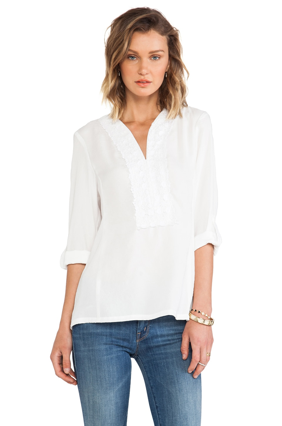 Nanette Lepore Jardin Blouse in White