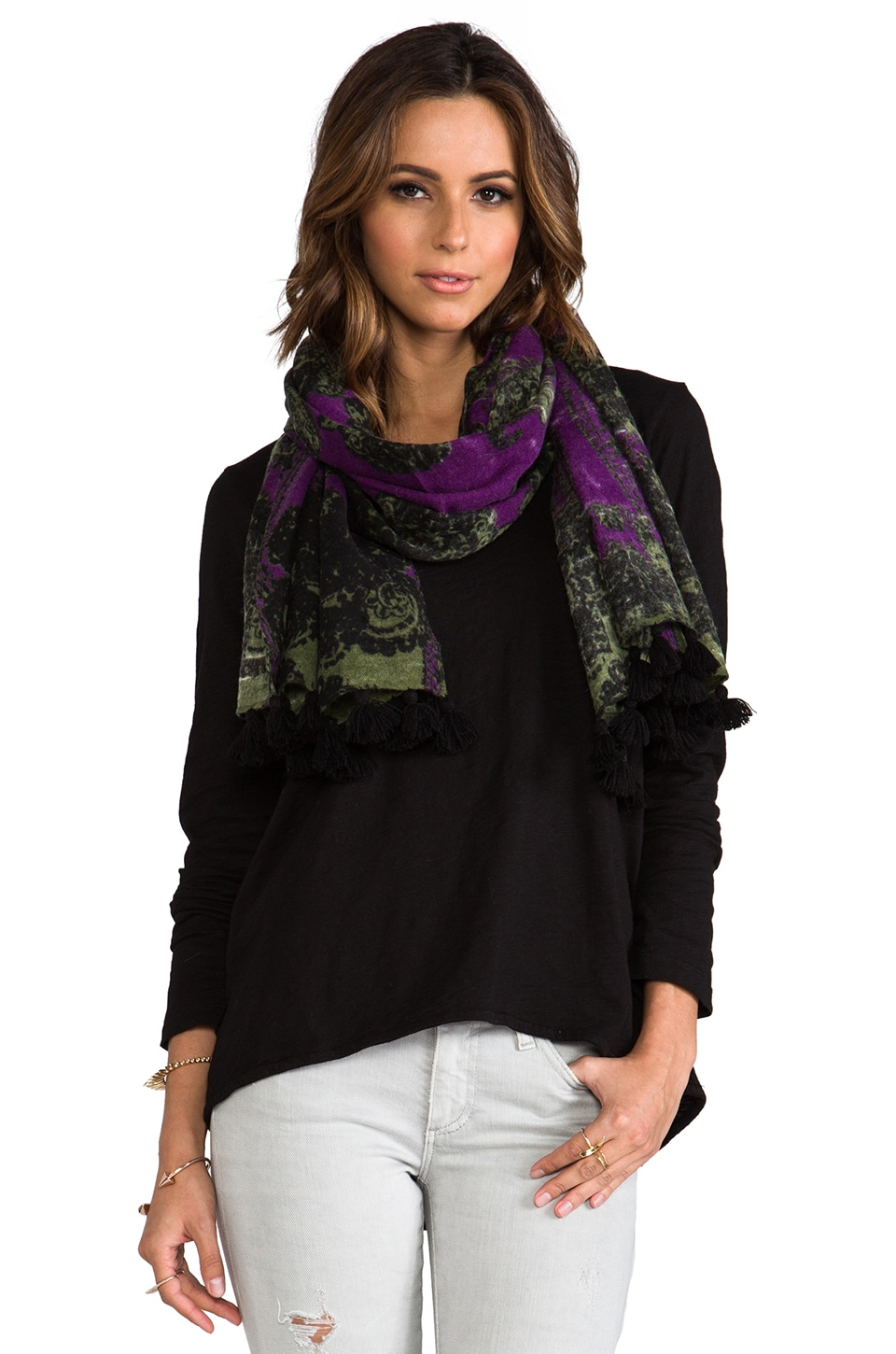 Nanette Lepore Mosaic Print Scarf in Deep Violet