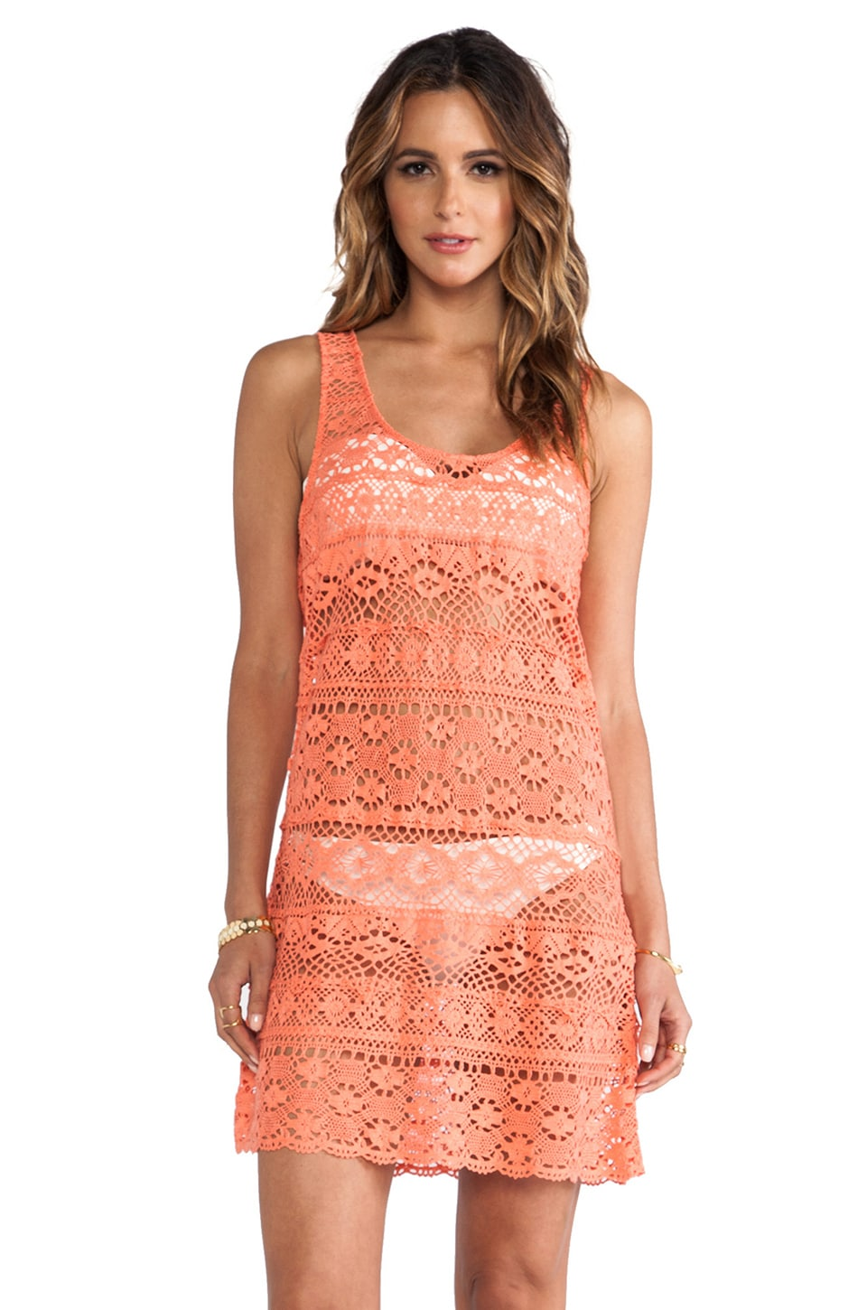 Nanette Lepore Cosmic Crochet Tank Dress Cover Up in Flamingo