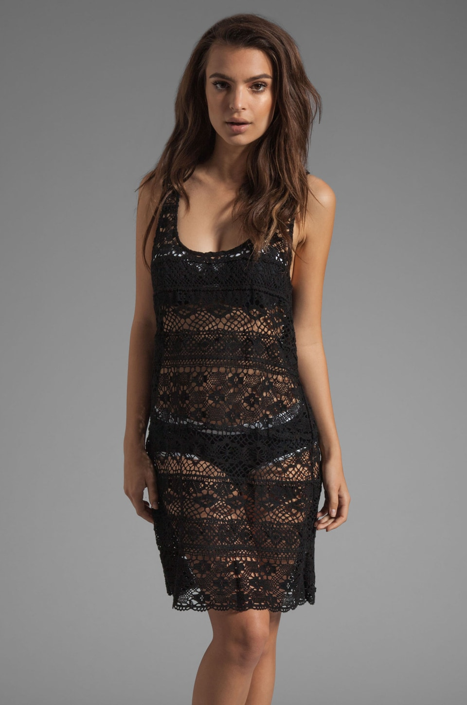 Nanette Lepore Cosmic Crochet Tank Dress Cover Up in Black