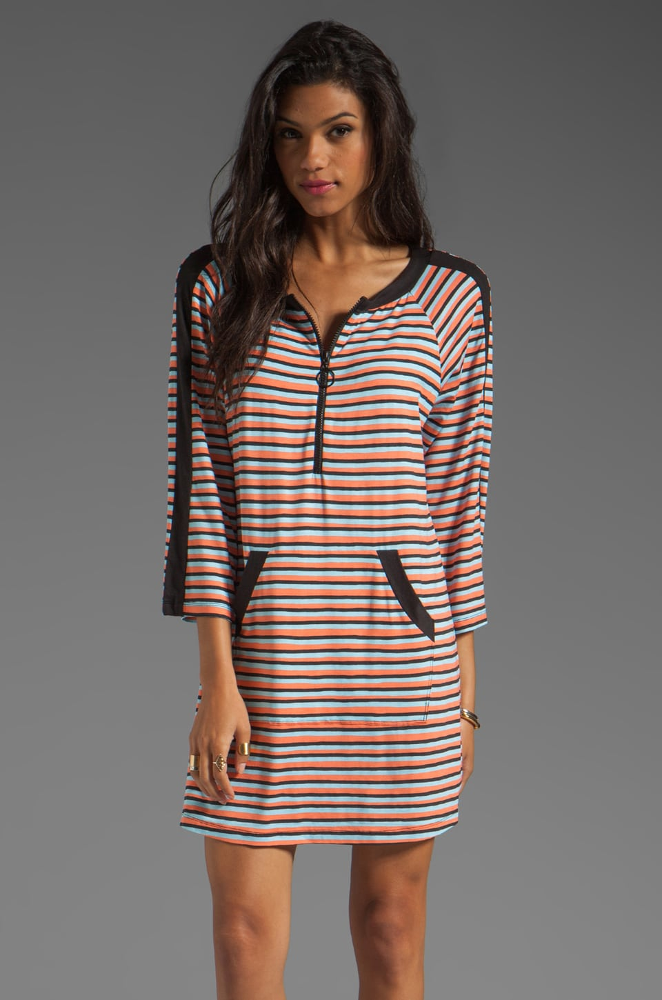 Nanette Lepore Strobe Light Stripe Tunic Cover Up in Blue Bell
