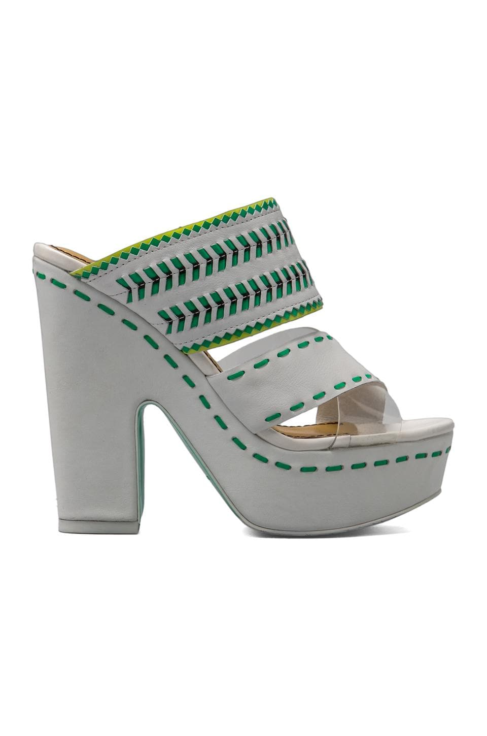Nanette Lepore Mai Tai Heel in White Leather/ Multi