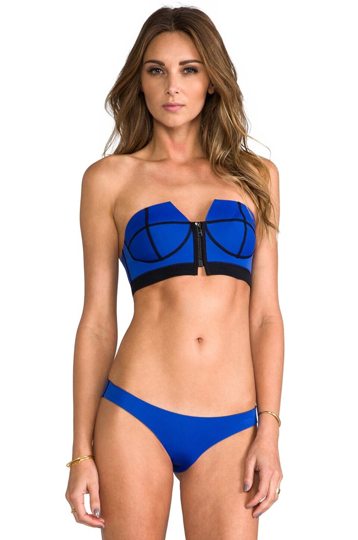 N.L.P Zip Front Strapless Bikini Top in Electric Blue