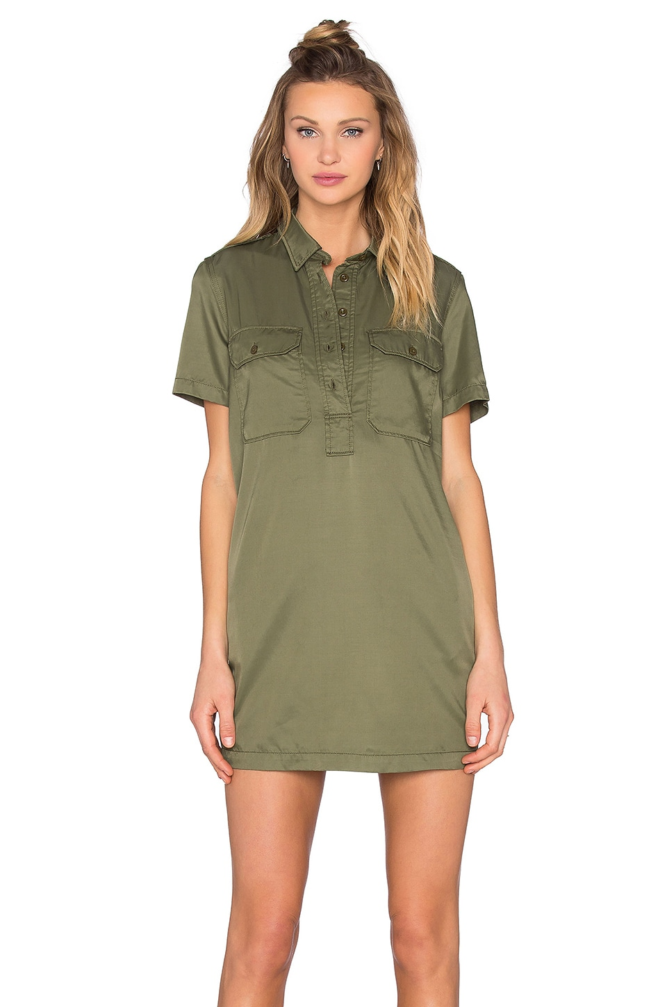 NLST Cupro Officer's Shirt Dress in Olive