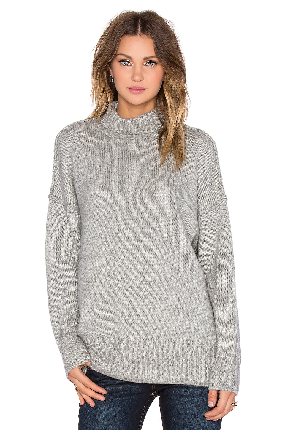 NLST Oversized Turtleneck Sweater in Heather Grey | REVOLVE