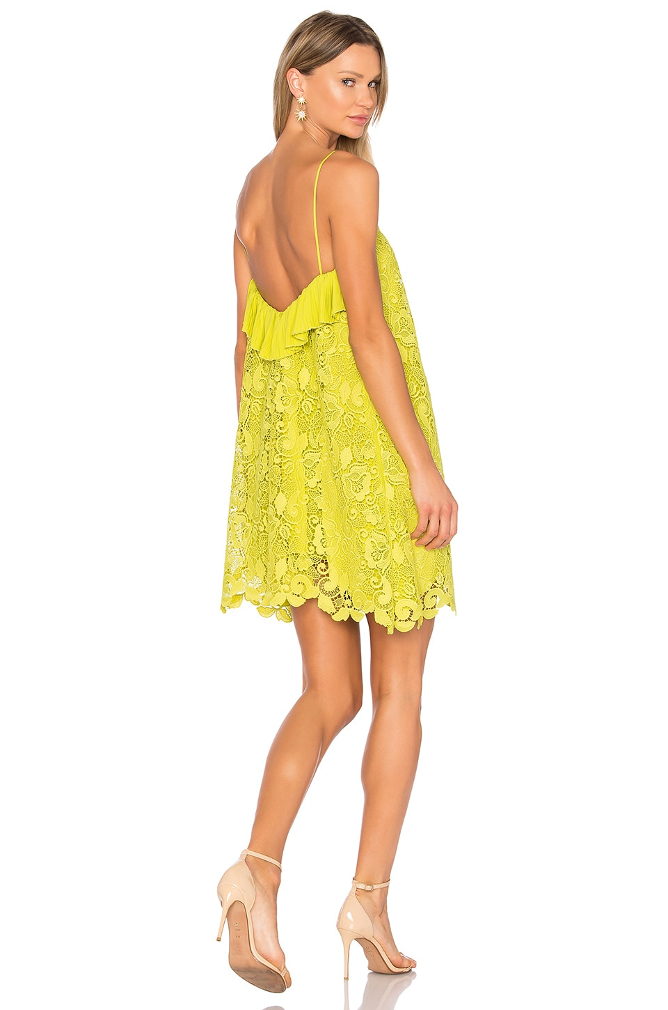 No. 21 Lace Dress in Yellow