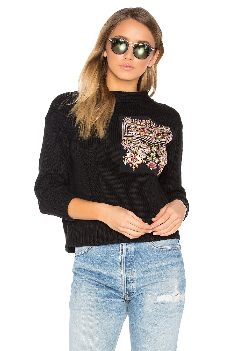 Reversible Embroidered Pocket Knit by No. 21