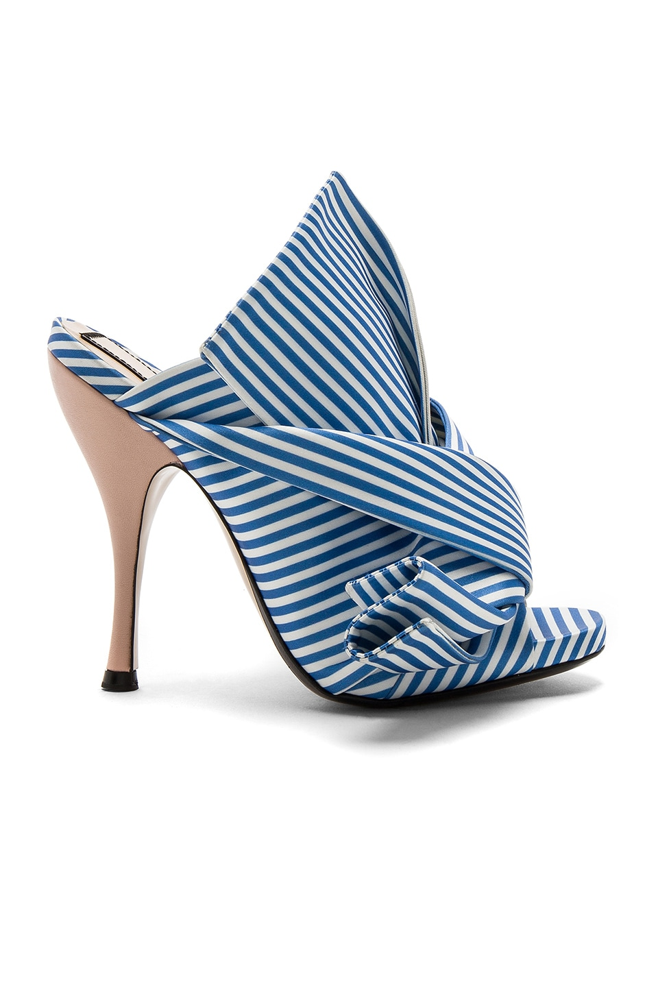 No. 21 Open Toe Heel in Blue & White Stripe