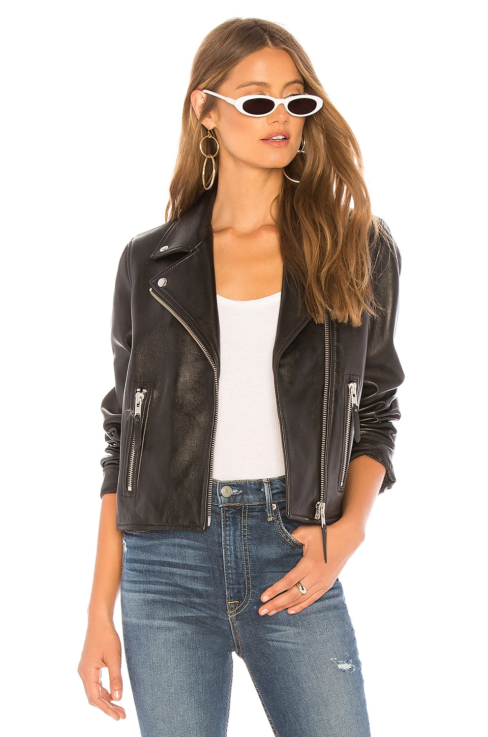 Nobody Denim Classic Leather Jacket in Black Leather