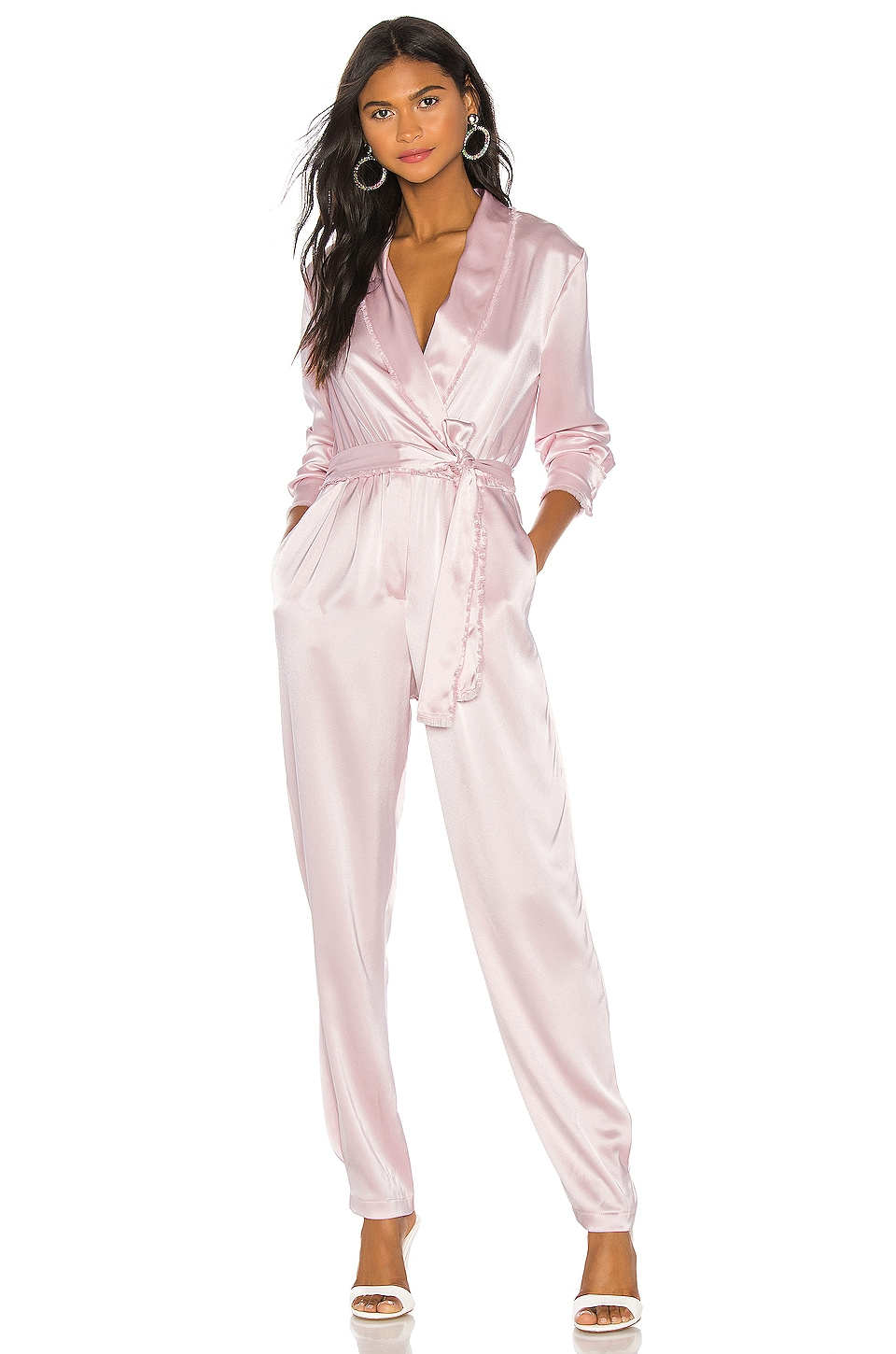 NONchalant Silk Jumpsuit in Lilac