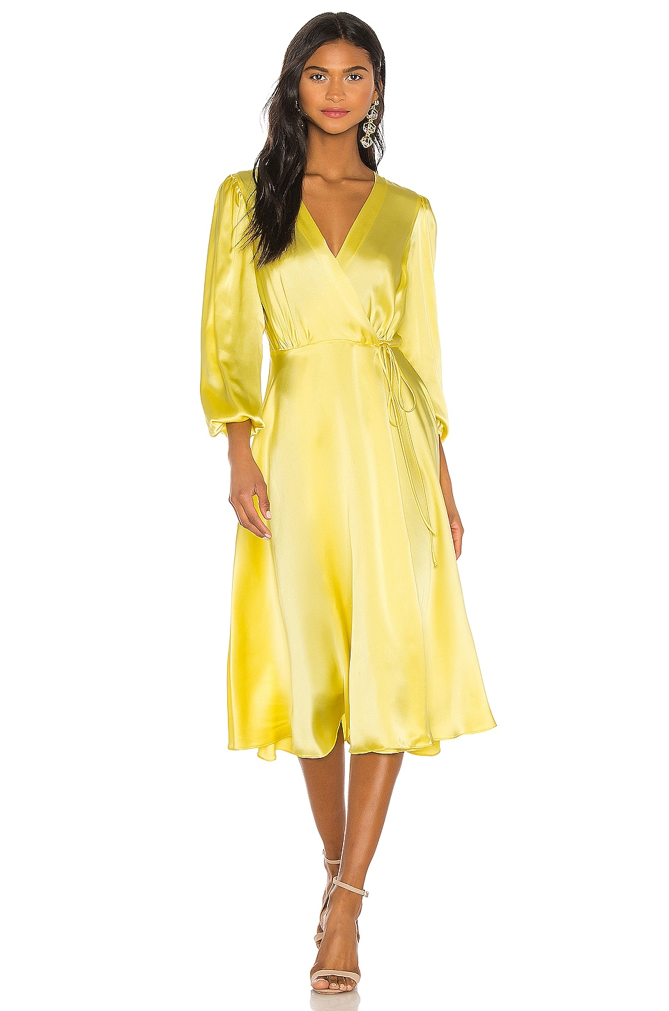 NONchalant Wrap Silk Midi Dress in Yellow