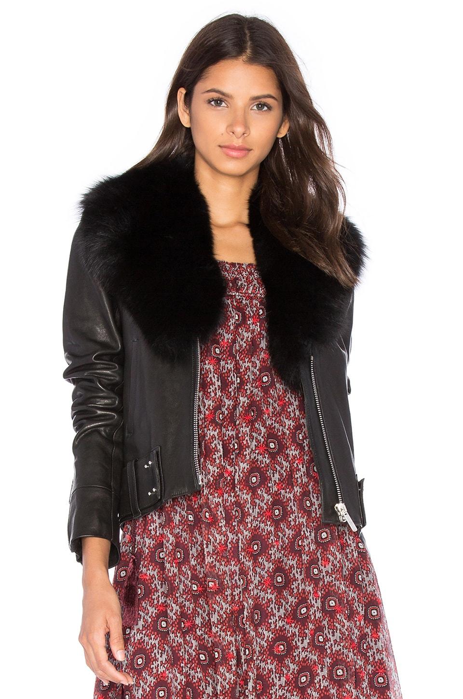 NOUR HAMMOUR Nada Fox Fur Collar Jacket in Black For Fur & Black ...