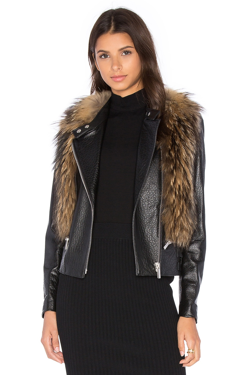NOUR HAMMOUR Flashing Lights Jacket with Asiatic Raccoon Fur in Natural Raccoon Fur & Black Leather