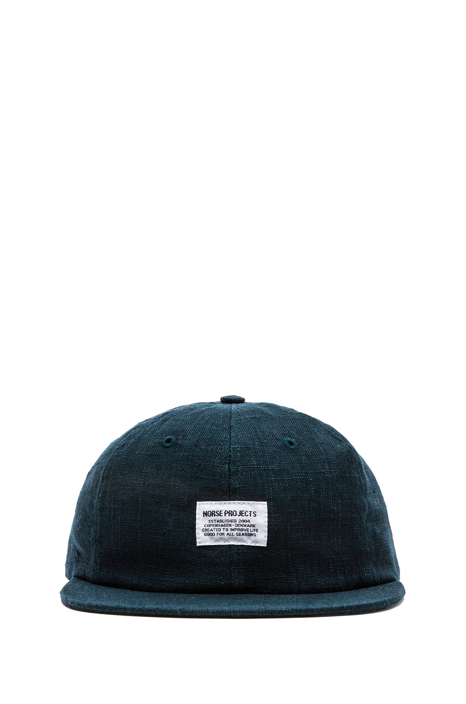 Norse Projects Linen Flat Cap in Deep Teal