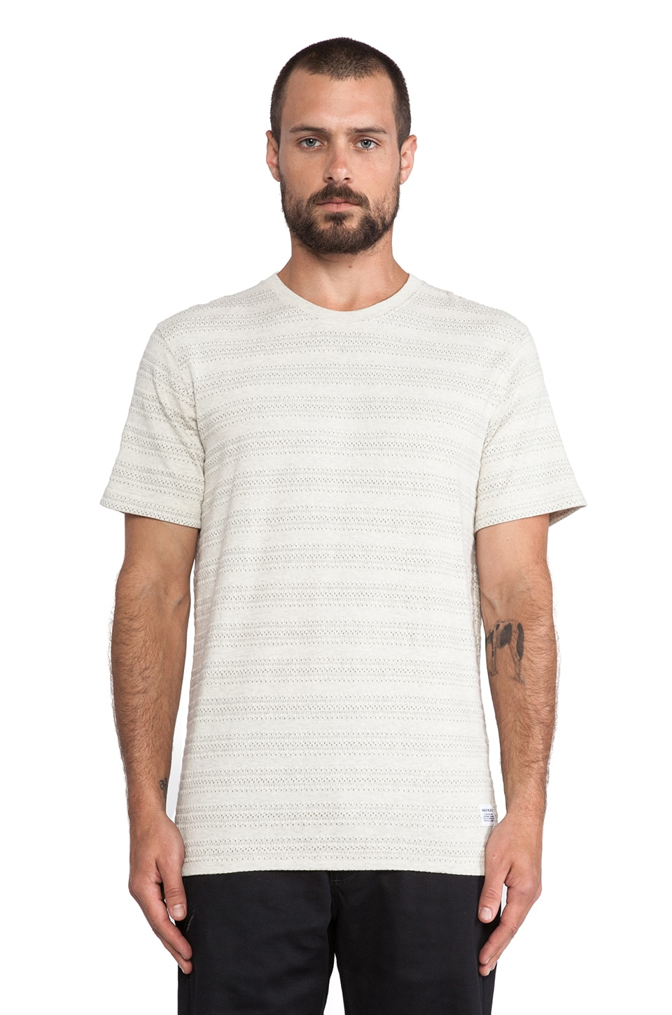Norse Projects Niels Indigo Textured Stripe Tee in Kit White Melange