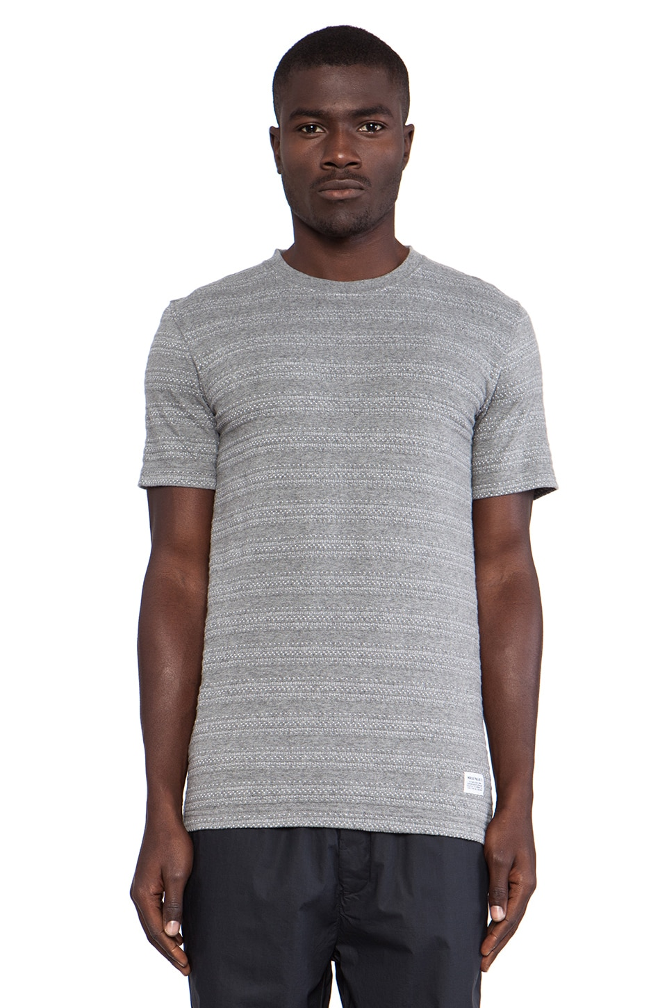 Norse Projects Niels Indigo Textured Stripe Tee in Grey Melange