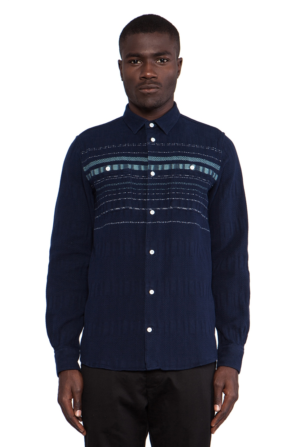 Norse Projects Jonas Lazy Cotton Long Sleeve Buttondown in Dark Navy