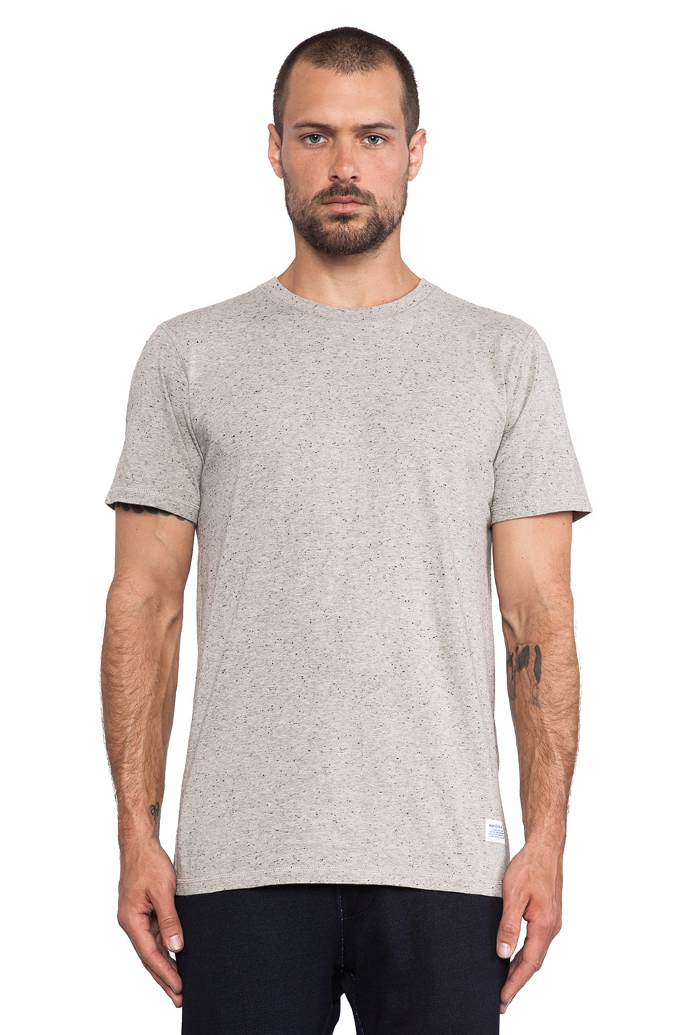 Norse Projects Niels Boucle Short Sleeve Tee in Grey Melange