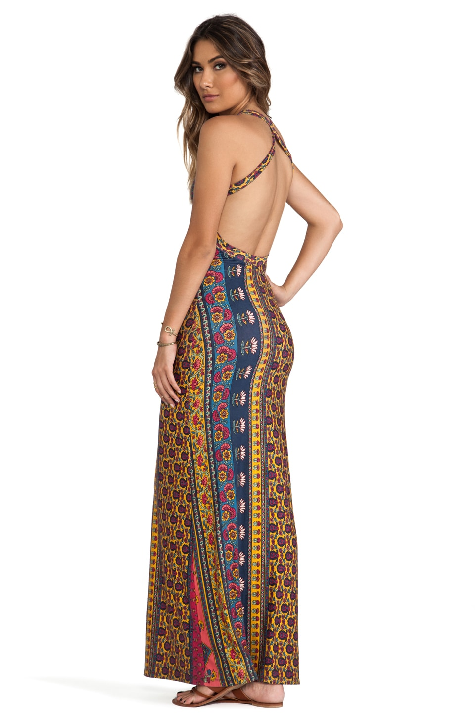 NOVELLA ROYALE Midnight Rambler Maxi Dress in Red Ethnic Floral