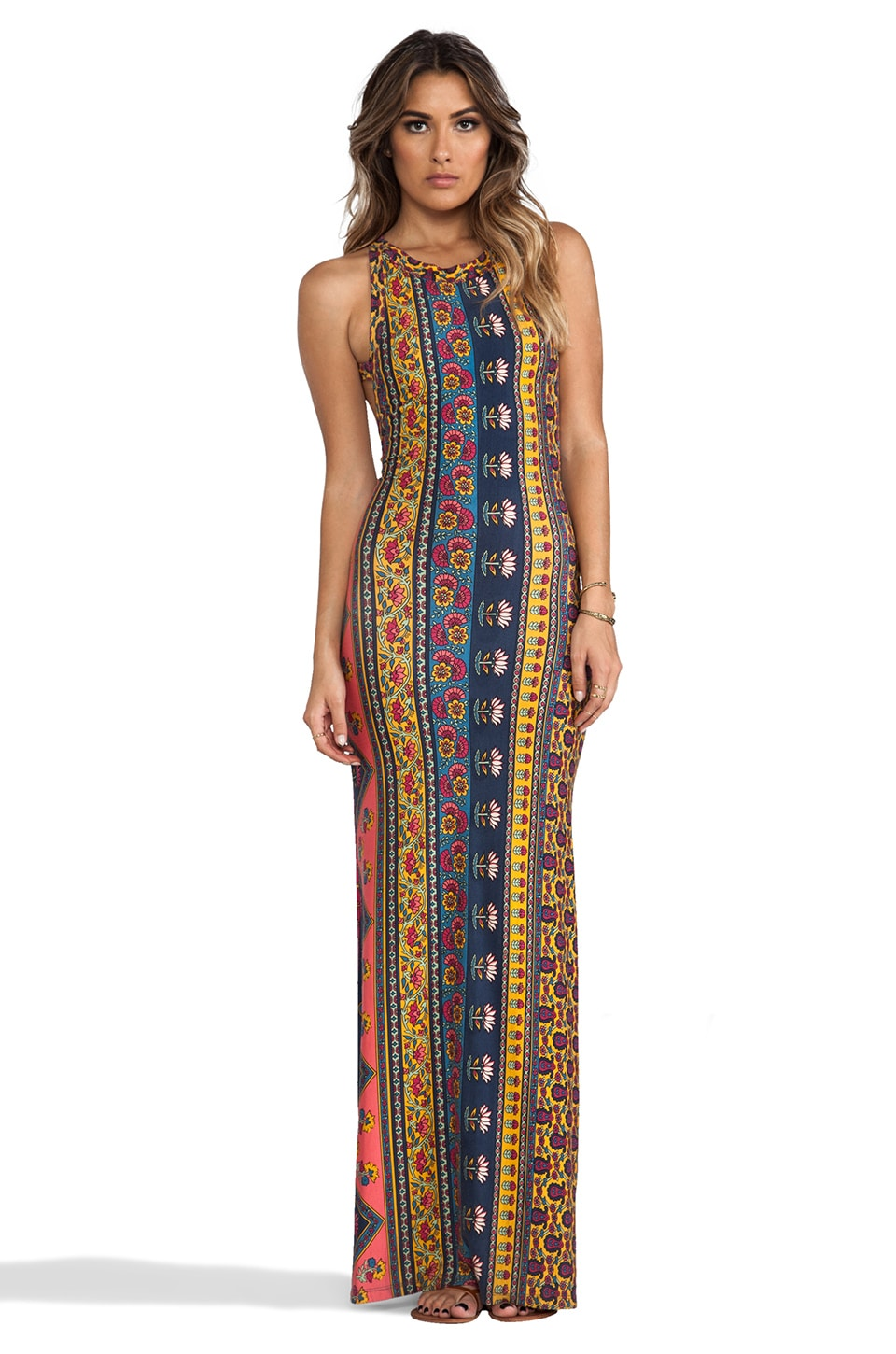 NOVELLA ROYALE Midnight Rambler Maxi Dress in Red Ethnic Floral ...