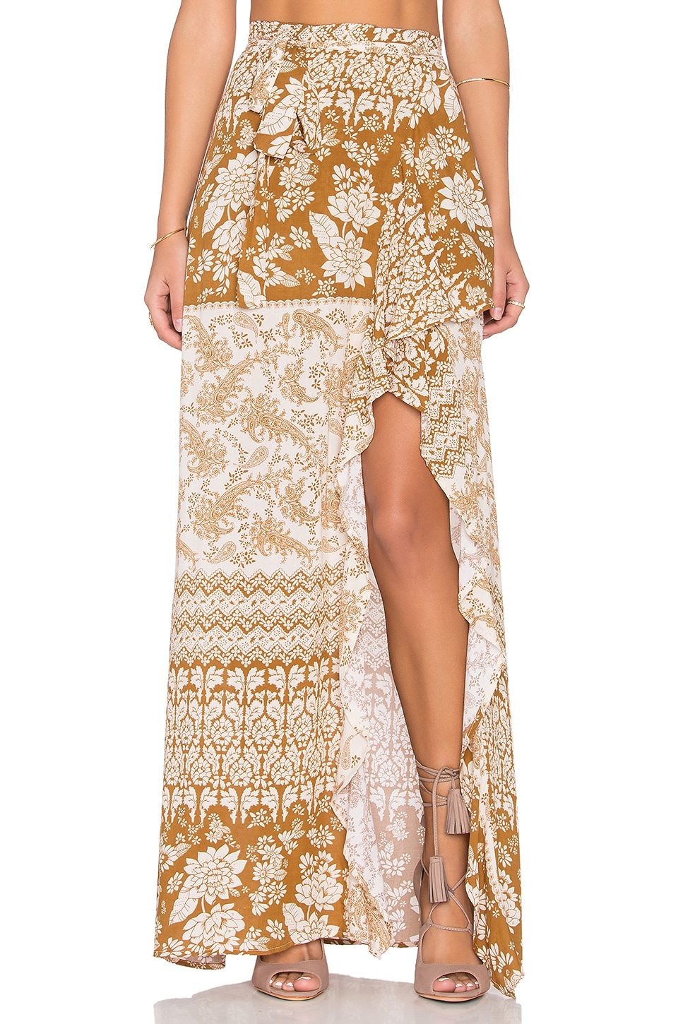 NOVELLA ROYALE Patti Maxi Skirt in Rust Hazely