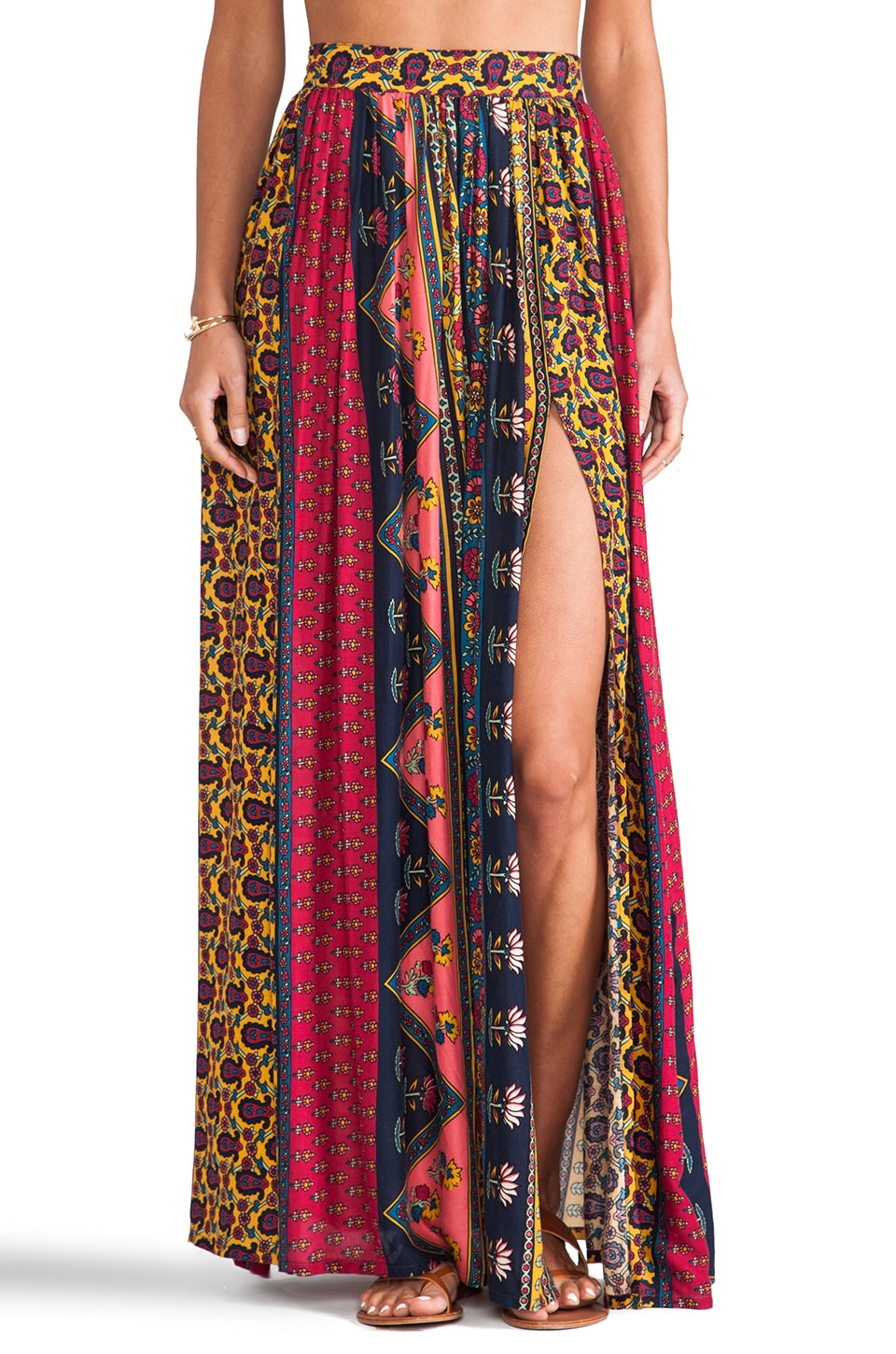NOVELLA ROYALE Strange Melody Skirt in Red Ethnic Floral