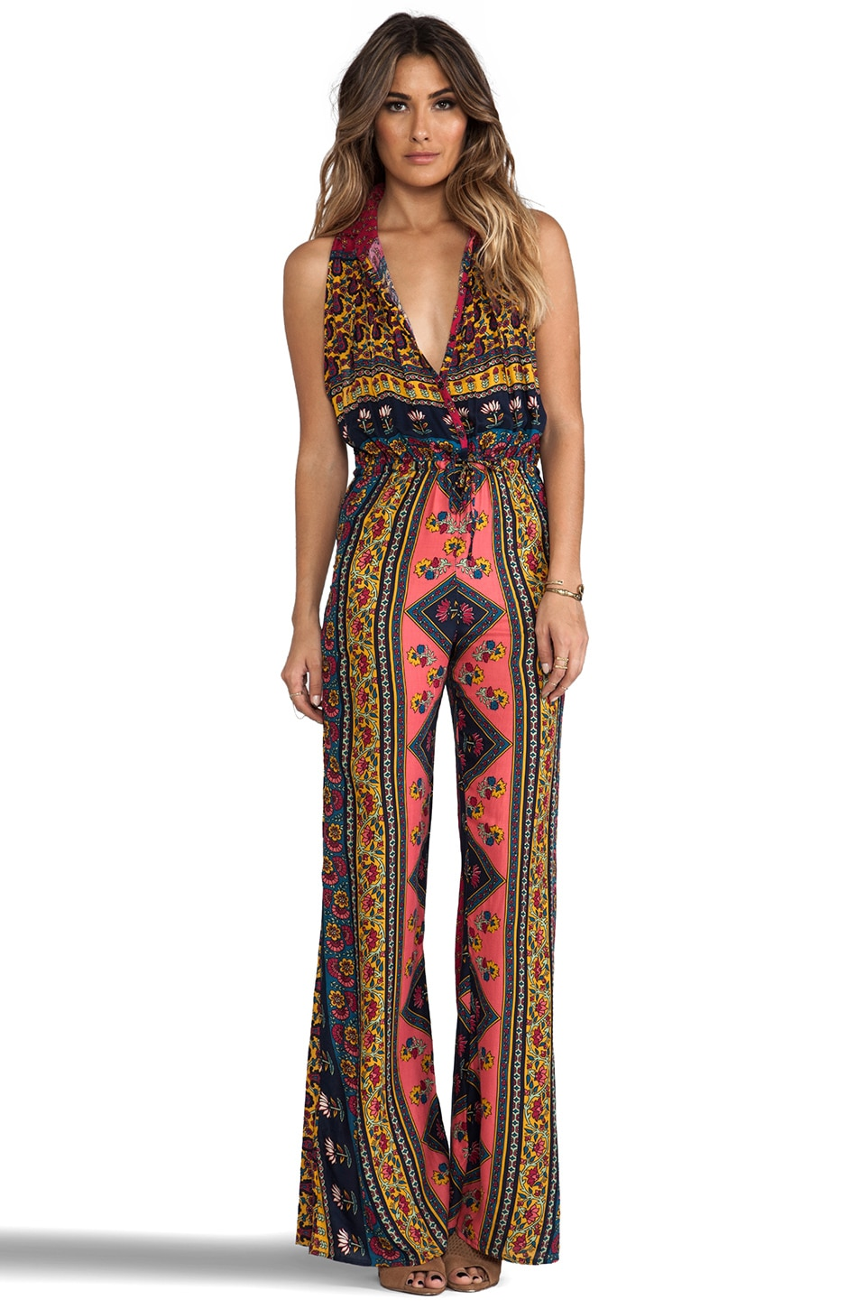 NOVELLA ROYALE Platform Holly Romper in Red Ethnic Floral