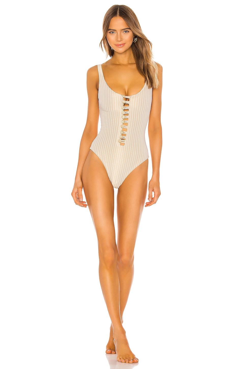 Normaillot Nocturne 20 One Piece in Cream & Gold Stripe