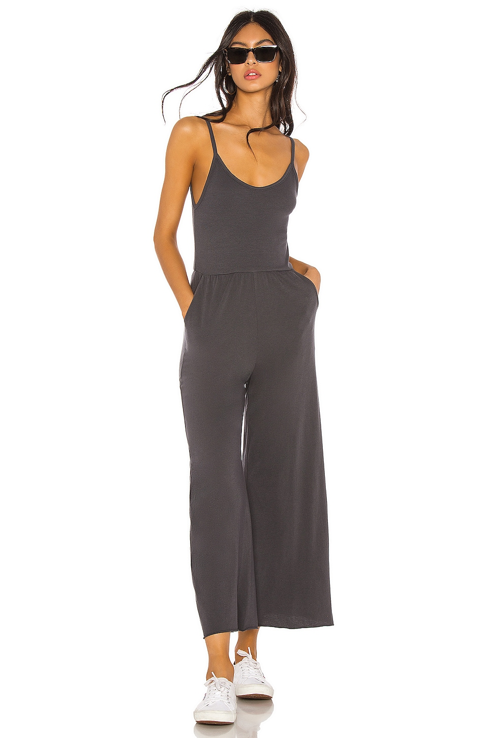 NSF Emery Wide Leg Jumpsuit in Charcoal