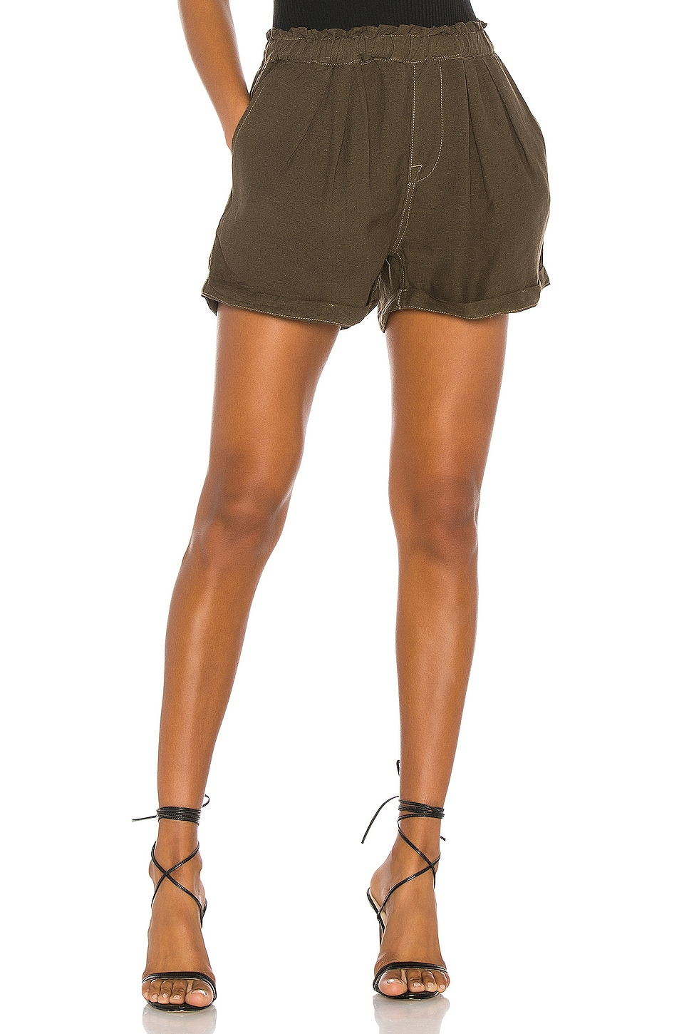 NSF Annora Paperbag Waist Short in Drab