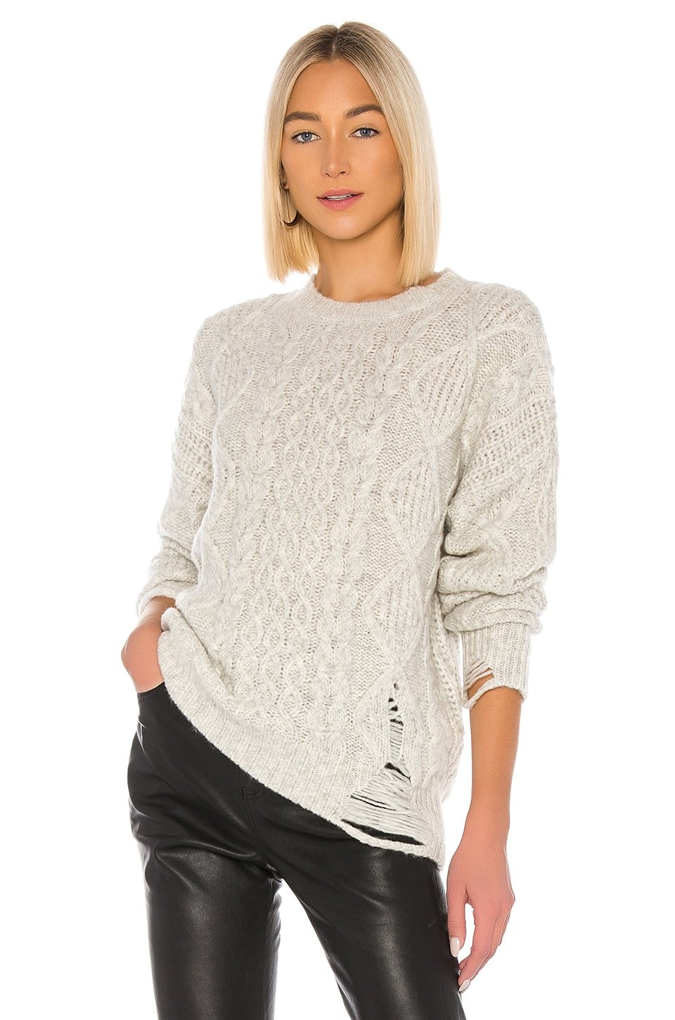 NSF Anabell Crew Neck Sweater in Light Heather Grey