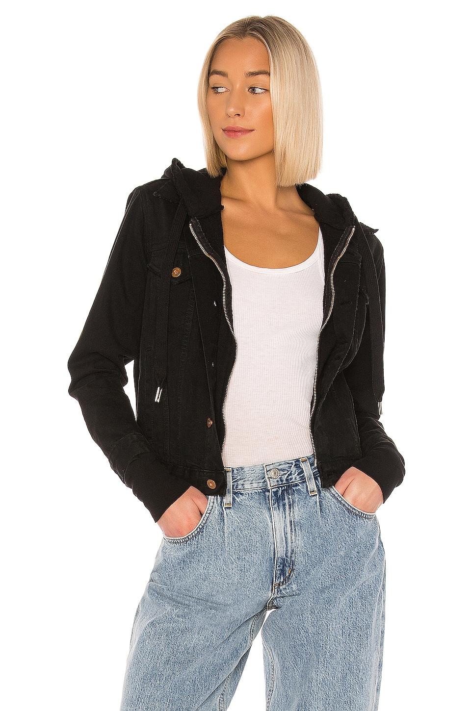 NSF Nala Double Layer Zip Denim Jacket in Vintage Black