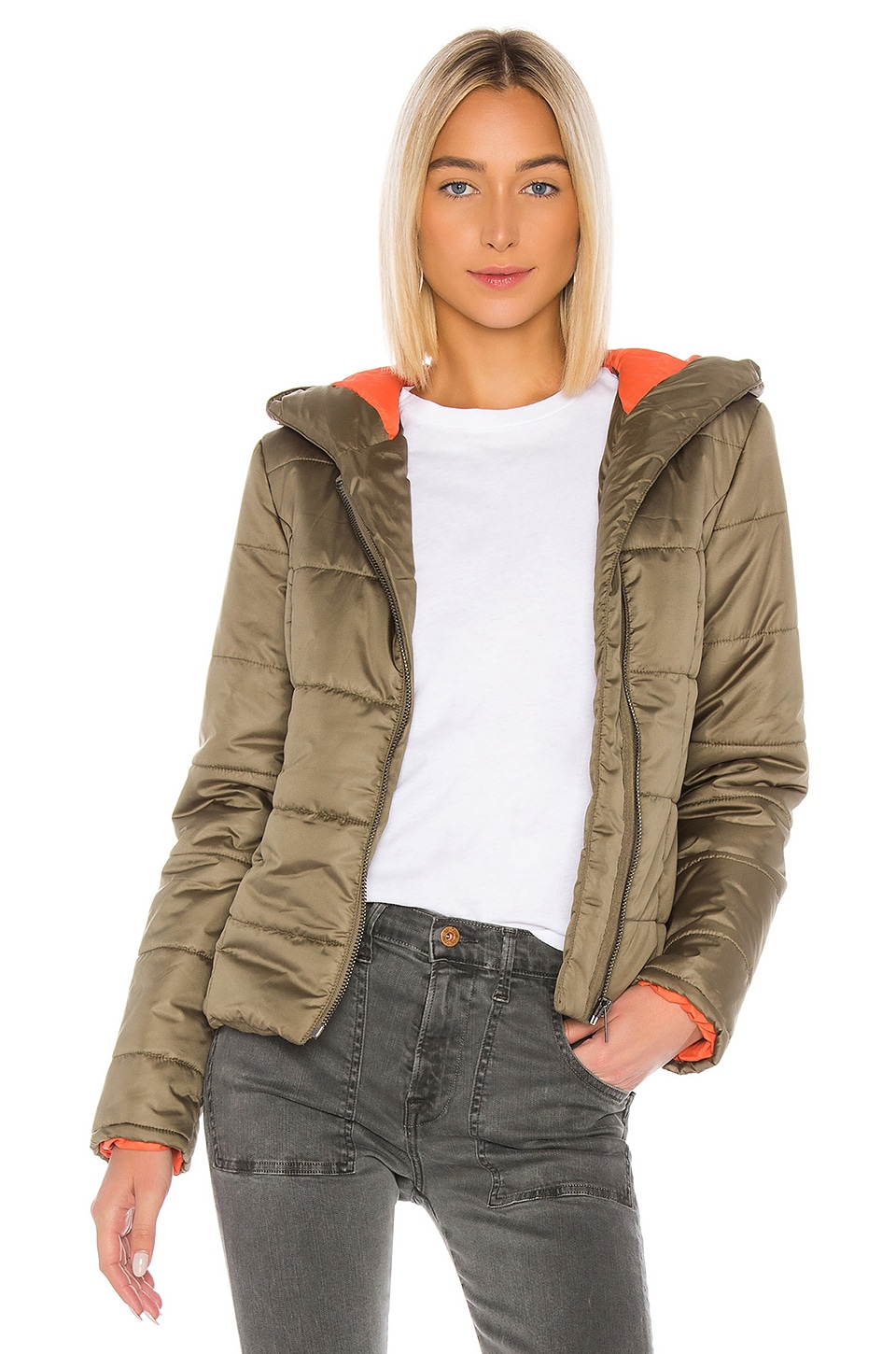 NSF Ollie Hooded Puffer Jacket in Army Green