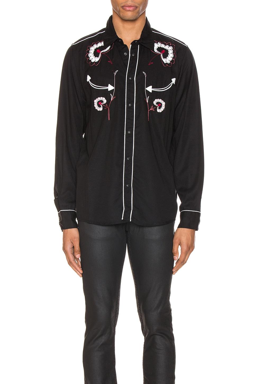 Nudie Jeans Stellan Western Flower Shirt in Black